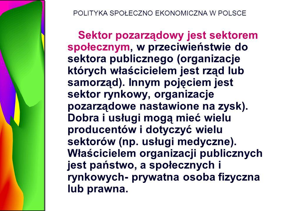 POLITYKA SPOŁECZNO EKONOMICZNA W POLSCE Sektor pozarządowy jest sektorem społecznym, w przeciwieństwie do sektora publicznego (organizacje których wła
