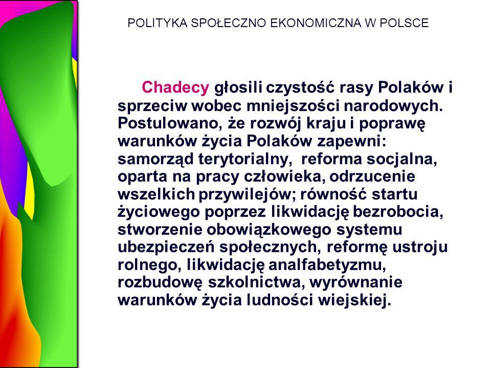 POLITYKA SPOŁECZNO EKONOMICZNA W POLSCE Chadecy głosili czystość rasy Polaków i sprzeciw wobec mniejszości narodowych. Postulowano, że rozwój kraju i