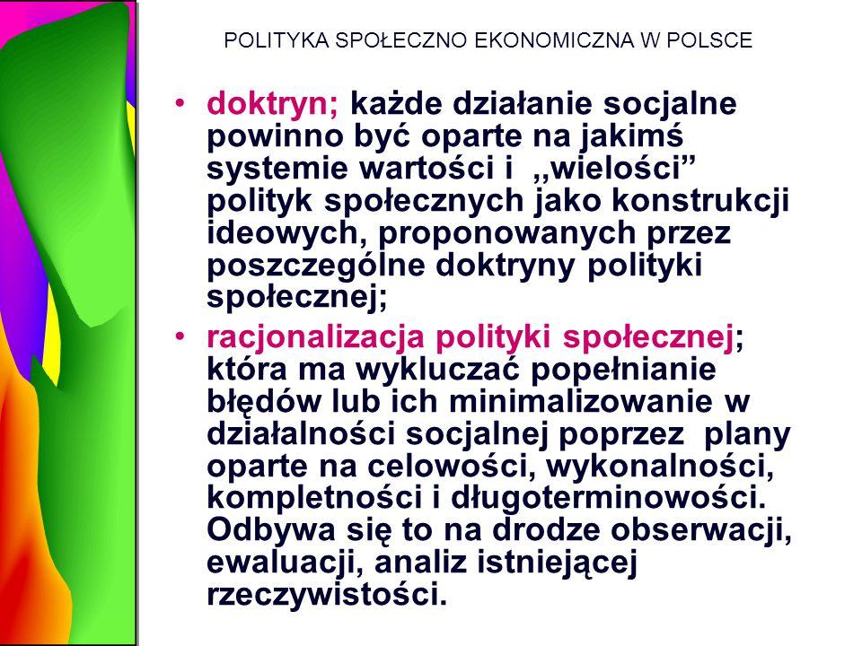"""POLITYKA SPOŁECZNO EKONOMICZNA W POLSCE doktryn; każde działanie socjalne powinno być oparte na jakimś systemie wartości i,,wielości"""" polityk społeczn"""