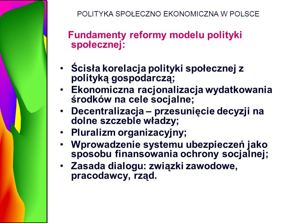 POLITYKA SPOŁECZNO EKONOMICZNA W POLSCE Fundamenty reformy modelu polityki społecznej: Ścisła korelacja polityki społecznej z polityką gospodarczą; Ek