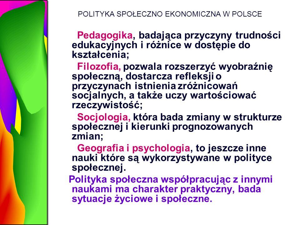 POLITYKA SPOŁECZNO EKONOMICZNA W POLSCE Pedagogika, badająca przyczyny trudności edukacyjnych i różnice w dostępie do kształcenia; Filozofia, pozwala