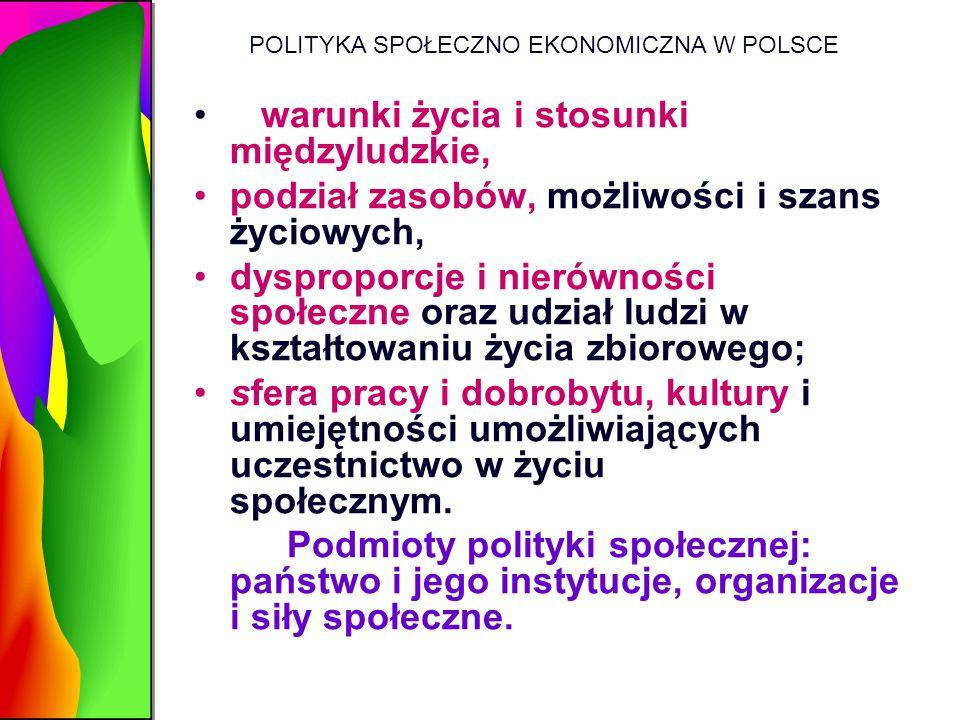 POLITYKA SPOŁECZNO EKONOMICZNA W POLSCE warunki życia i stosunki międzyludzkie, podział zasobów, możliwości i szans życiowych, dysproporcje i nierówno