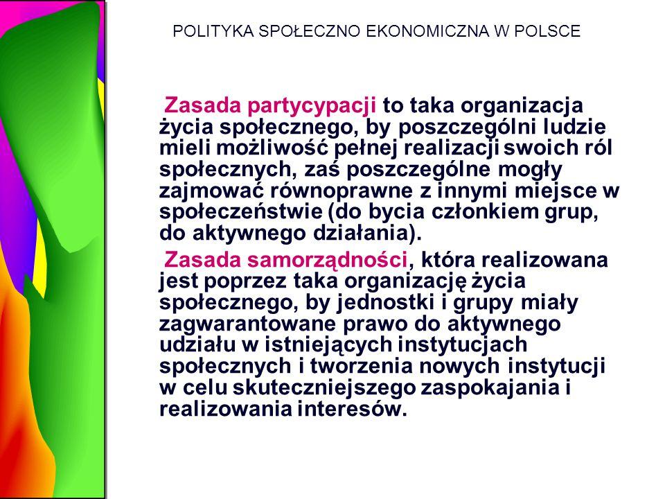 POLITYKA SPOŁECZNO EKONOMICZNA W POLSCE Zasada partycypacji to taka organizacja życia społecznego, by poszczególni ludzie mieli możliwość pełnej reali
