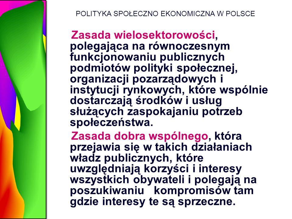 POLITYKA SPOŁECZNO EKONOMICZNA W POLSCE Zasada wielosektorowości, polegająca na równoczesnym funkcjonowaniu publicznych podmiotów polityki społecznej,