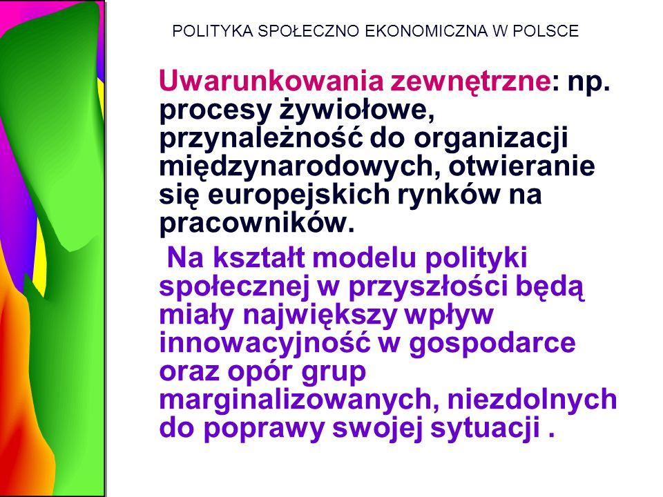 POLITYKA SPOŁECZNO EKONOMICZNA W POLSCE Uwarunkowania zewnętrzne: np. procesy żywiołowe, przynależność do organizacji międzynarodowych, otwieranie się
