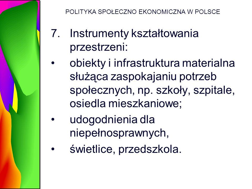 POLITYKA SPOŁECZNO EKONOMICZNA W POLSCE 7.Instrumenty kształtowania przestrzeni: obiekty i infrastruktura materialna służąca zaspokajaniu potrzeb społ