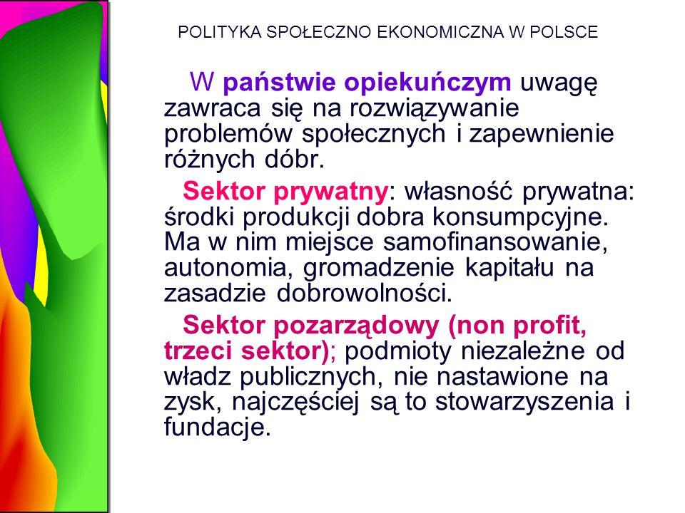 POLITYKA SPOŁECZNO EKONOMICZNA W POLSCE W państwie opiekuńczym uwagę zawraca się na rozwiązywanie problemów społecznych i zapewnienie różnych dóbr. Se