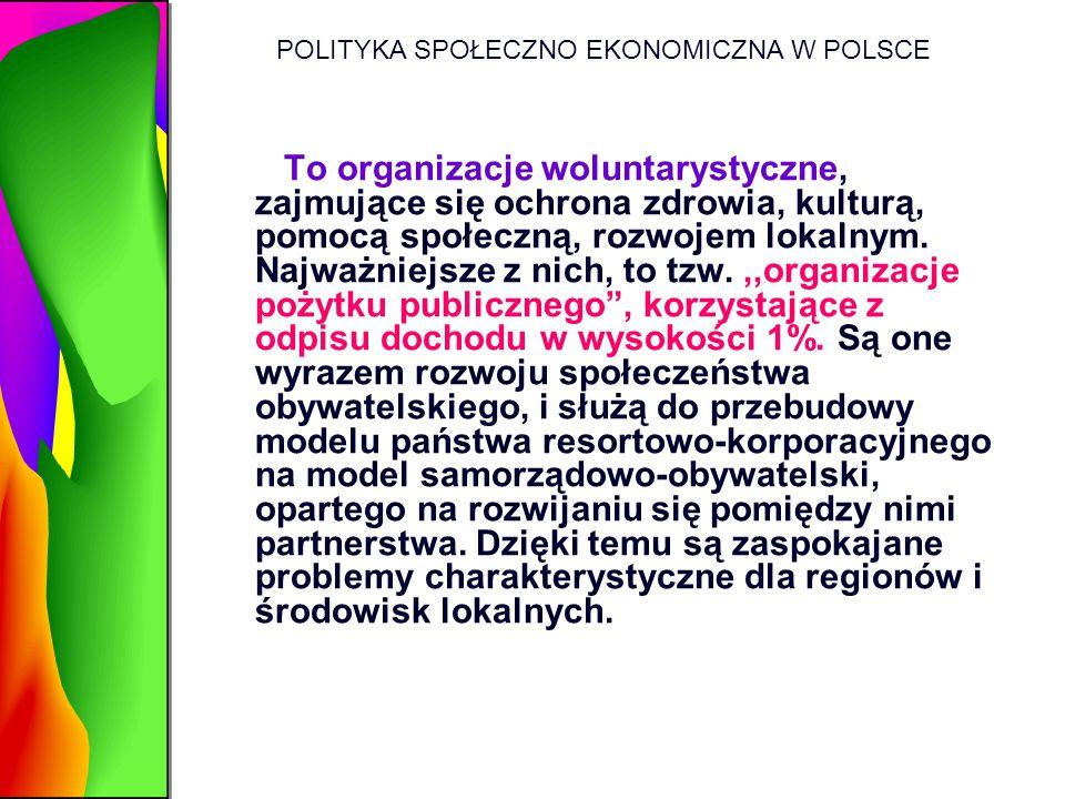 POLITYKA SPOŁECZNO EKONOMICZNA W POLSCE To organizacje woluntarystyczne, zajmujące się ochrona zdrowia, kulturą, pomocą społeczną, rozwojem lokalnym.
