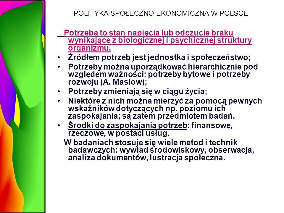 POLITYKA SPOŁECZNO EKONOMICZNA W POLSCE Potrzeba to stan napięcia lub odczucie braku wynikające z biologicznej i psychicznej struktury organizmu. Źród