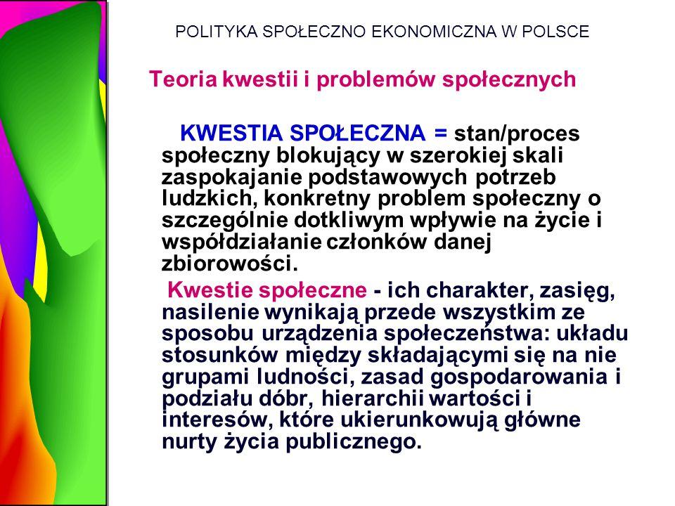 POLITYKA SPOŁECZNO EKONOMICZNA W POLSCE Teoria kwestii i problemów społecznych KWESTIA SPOŁECZNA = stan/proces społeczny blokujący w szerokiej skali z
