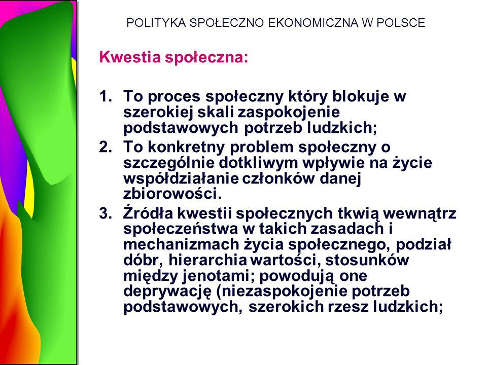 POLITYKA SPOŁECZNO EKONOMICZNA W POLSCE Kwestia społeczna: 1.To proces społeczny który blokuje w szerokiej skali zaspokojenie podstawowych potrzeb lud