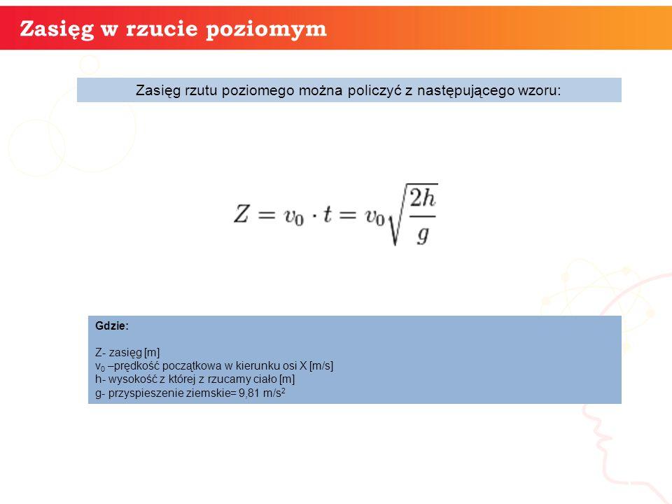 informatyka + 5 Zasięg w rzucie poziomym Zasięg rzutu poziomego można policzyć z następującego wzoru: Gdzie: Z- zasięg [m] v 0 –prędkość początkowa w