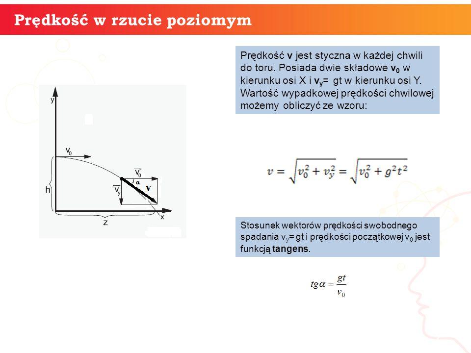 informatyka + 7 Prędkość w rzucie poziomym Prędkość v jest styczna w każdej chwili do toru. Posiada dwie składowe v 0 w kierunku osi X i v y = gt w ki