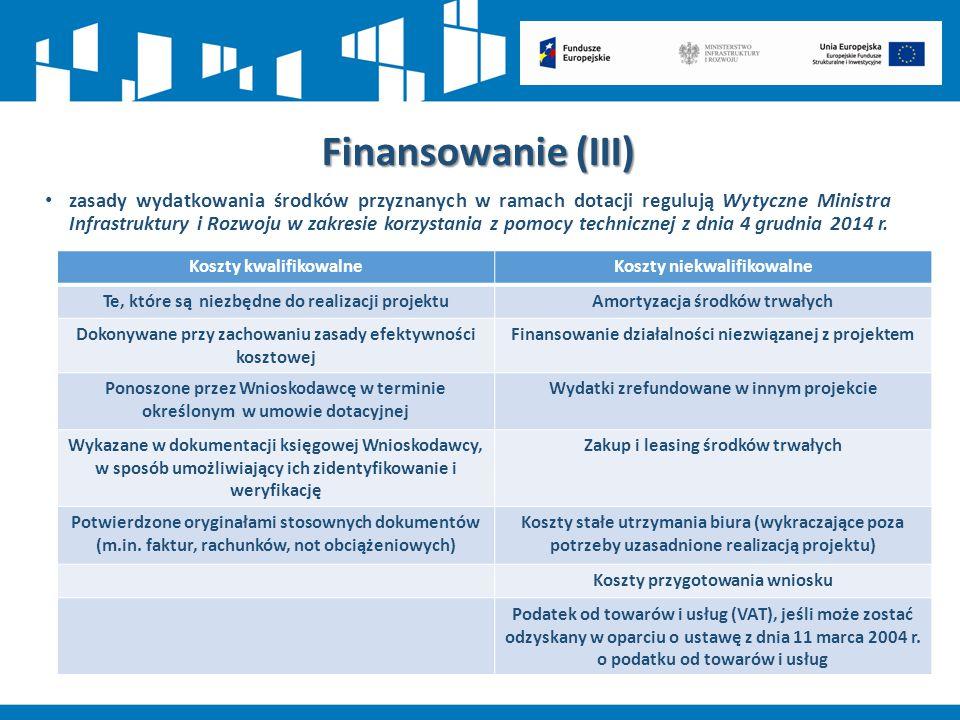 zasady wydatkowania środków przyznanych w ramach dotacji regulują Wytyczne Ministra Infrastruktury i Rozwoju w zakresie korzystania z pomocy techniczn