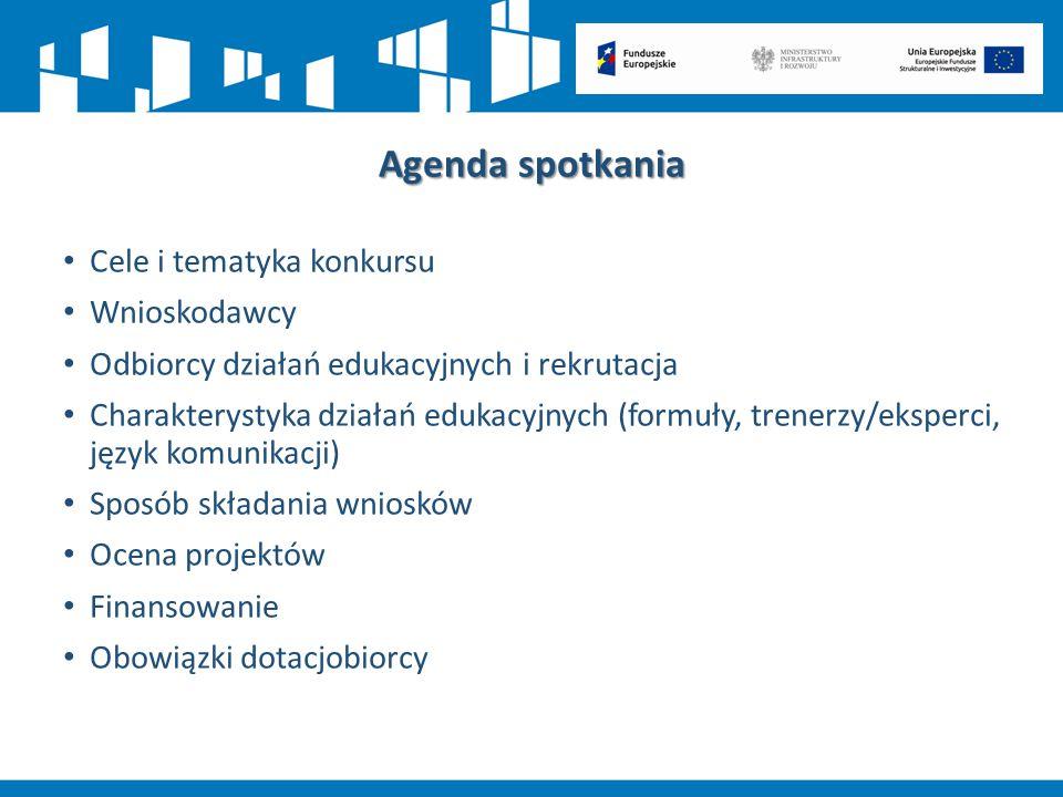 Agenda spotkania Cele i tematyka konkursu Wnioskodawcy Odbiorcy działań edukacyjnych i rekrutacja Charakterystyka działań edukacyjnych (formuły, trene