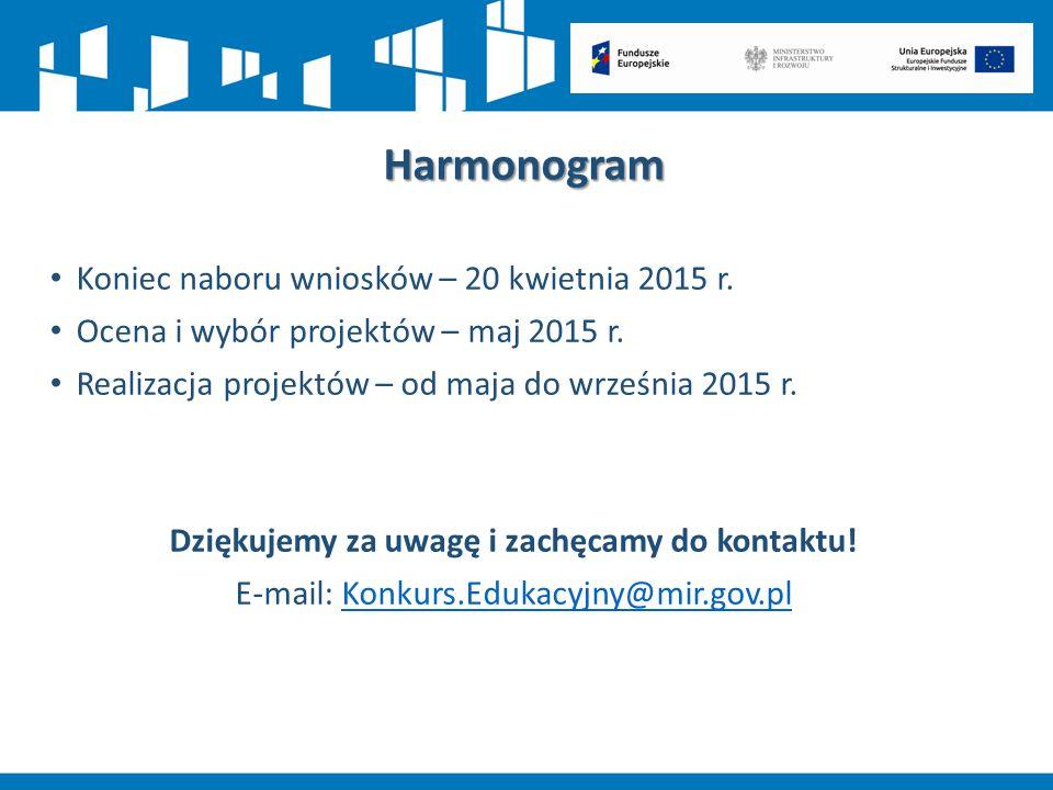 Harmonogram Koniec naboru wniosków – 20 kwietnia 2015 r. Ocena i wybór projektów – maj 2015 r. Realizacja projektów – od maja do września 2015 r. Dzię