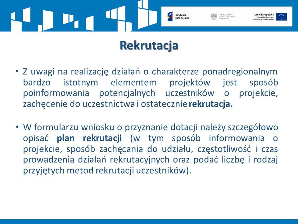 Rekrutacja Z uwagi na realizację działań o charakterze ponadregionalnym bardzo istotnym elementem projektów jest sposób poinformowania potencjalnych u