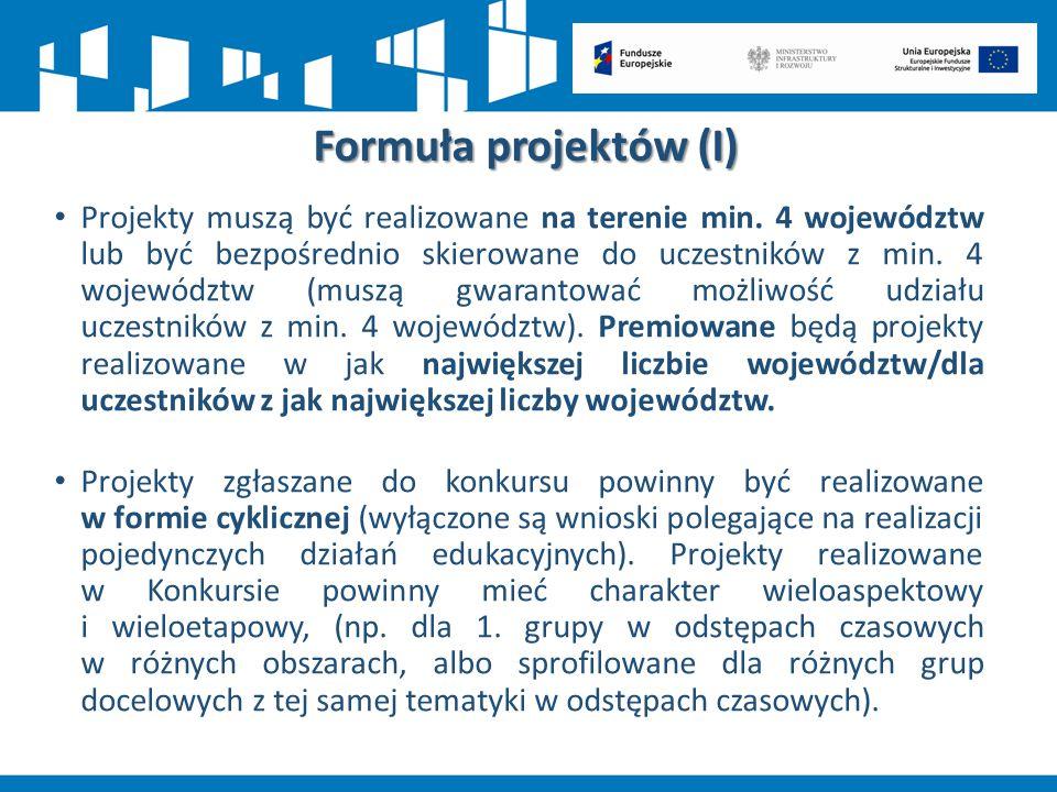 Formuła projektów (I) Projekty muszą być realizowane na terenie min. 4 województw lub być bezpośrednio skierowane do uczestników z min. 4 województw (