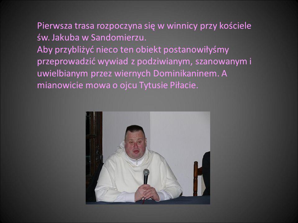 Pierwsza trasa rozpoczyna się w winnicy przy kościele św. Jakuba w Sandomierzu. Aby przybliżyć nieco ten obiekt postanowiłyśmy przeprowadzić wywiad z