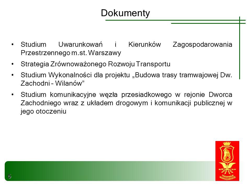 Studium Uwarunkowań i Kierunków Zagospodarowania Przestrzennego m.st. Warszawy Strategia Zrównoważonego Rozwoju Transportu Studium Wykonalności dla pr
