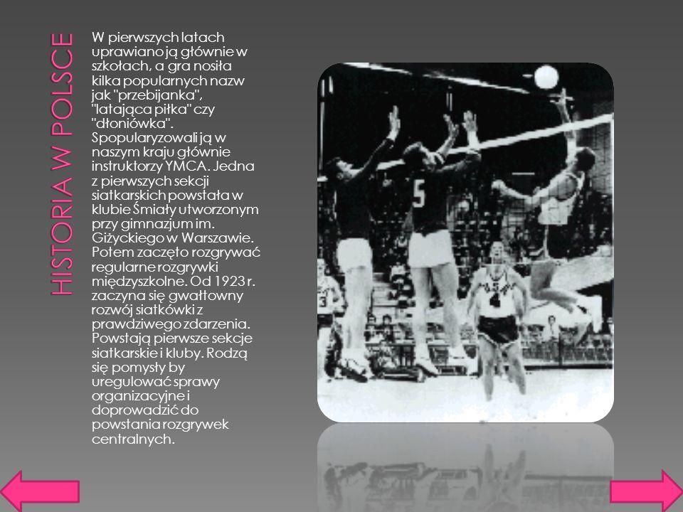W pierwszych latach uprawiano ją głównie w szkołach, a gra nosiła kilka popularnych nazw jak przebijanka , latająca piłka czy dłoniówka .