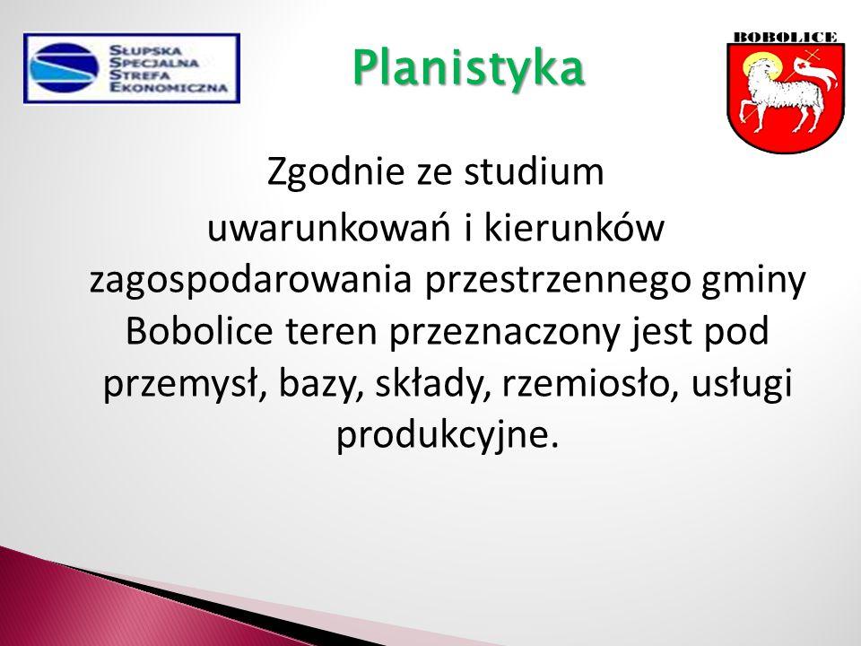 Zgodnie ze studium uwarunkowań i kierunków zagospodarowania przestrzennego gminy Bobolice teren przeznaczony jest pod przemysł, bazy, składy, rzemiosło, usługi produkcyjne.