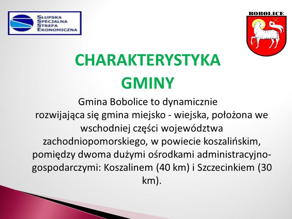 CHARAKTERYSTYKA GMINY Gmina Bobolice to dynamicznie rozwijająca się gmina miejsko - wiejska, położona we wschodniej części województwa zachodniopomorskiego, w powiecie koszalińskim, pomiędzy dwoma dużymi ośrodkami administracyjno- gospodarczymi: Koszalinem (40 km) i Szczecinkiem (30 km).
