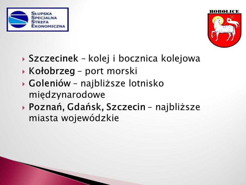  Szczecinek – kolej i bocznica kolejowa  Kołobrzeg – port morski  Goleniów – najbliższe lotnisko międzynarodowe  Poznań, Gdańsk, Szczecin – najbliższe miasta wojewódzkie