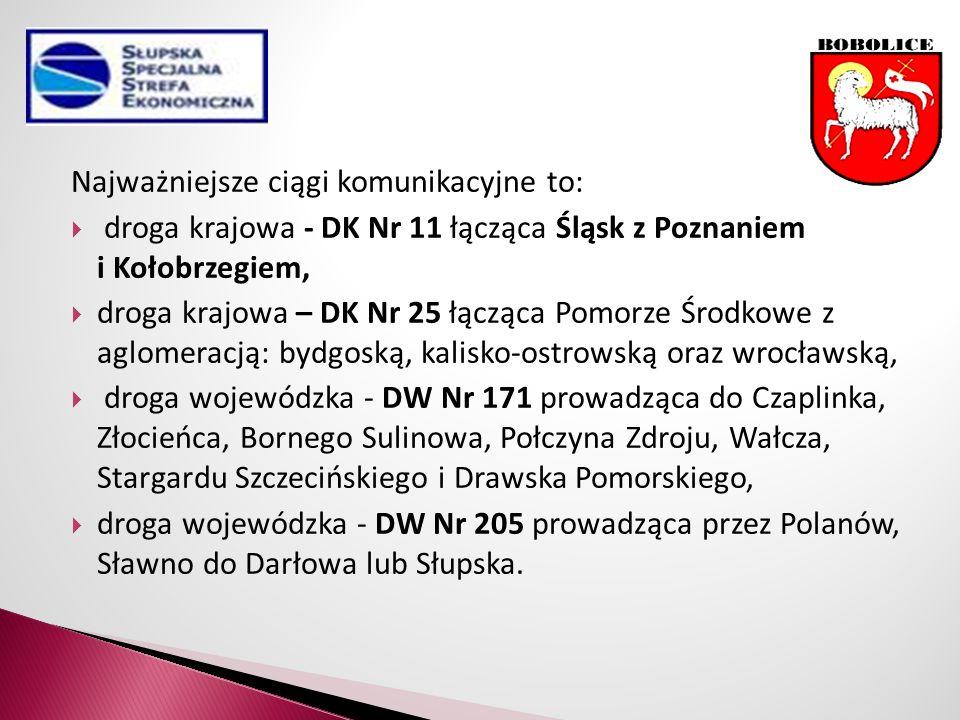 Najważniejsze ciągi komunikacyjne to:  droga krajowa - DK Nr 11 łącząca Śląsk z Poznaniem i Kołobrzegiem,  droga krajowa – DK Nr 25 łącząca Pomorze Środkowe z aglomeracją: bydgoską, kalisko-ostrowską oraz wrocławską,  droga wojewódzka - DW Nr 171 prowadząca do Czaplinka, Złocieńca, Bornego Sulinowa, Połczyna Zdroju, Wałcza, Stargardu Szczecińskiego i Drawska Pomorskiego,  droga wojewódzka - DW Nr 205 prowadząca przez Polanów, Sławno do Darłowa lub Słupska.