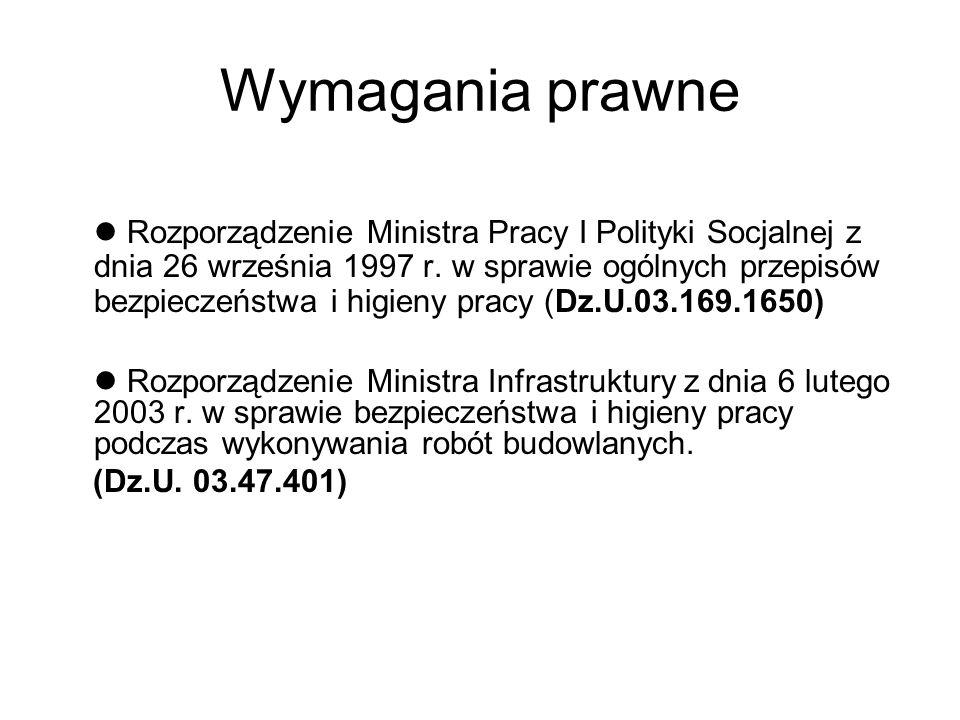 Wymagania prawne Rozporządzenie Ministra Pracy I Polityki Socjalnej z dnia 26 września 1997 r.