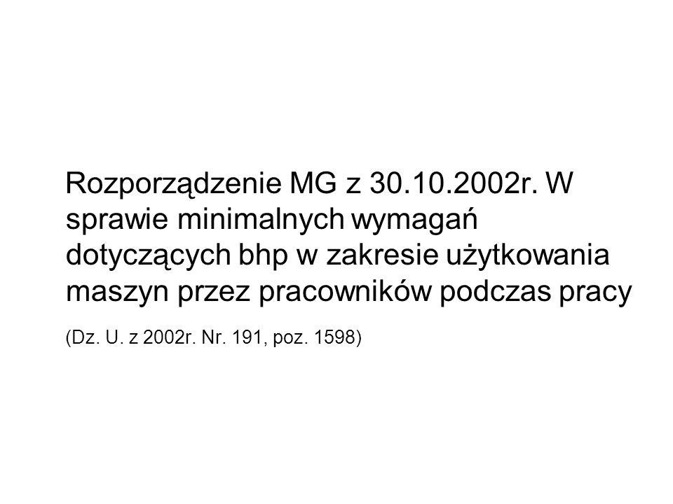 Rozporządzenie MG z 30.10.2002r.
