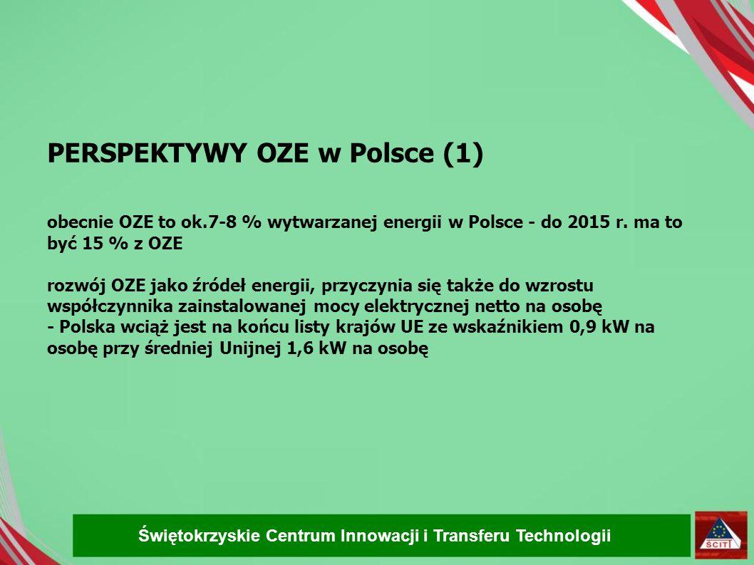 PERSPEKTYWY OZE w Polsce (1) obecnie OZE to ok.7-8 % wytwarzanej energii w Polsce - do 2015 r. ma to być 15 % z OZE rozwój OZE jako źródeł energii, pr