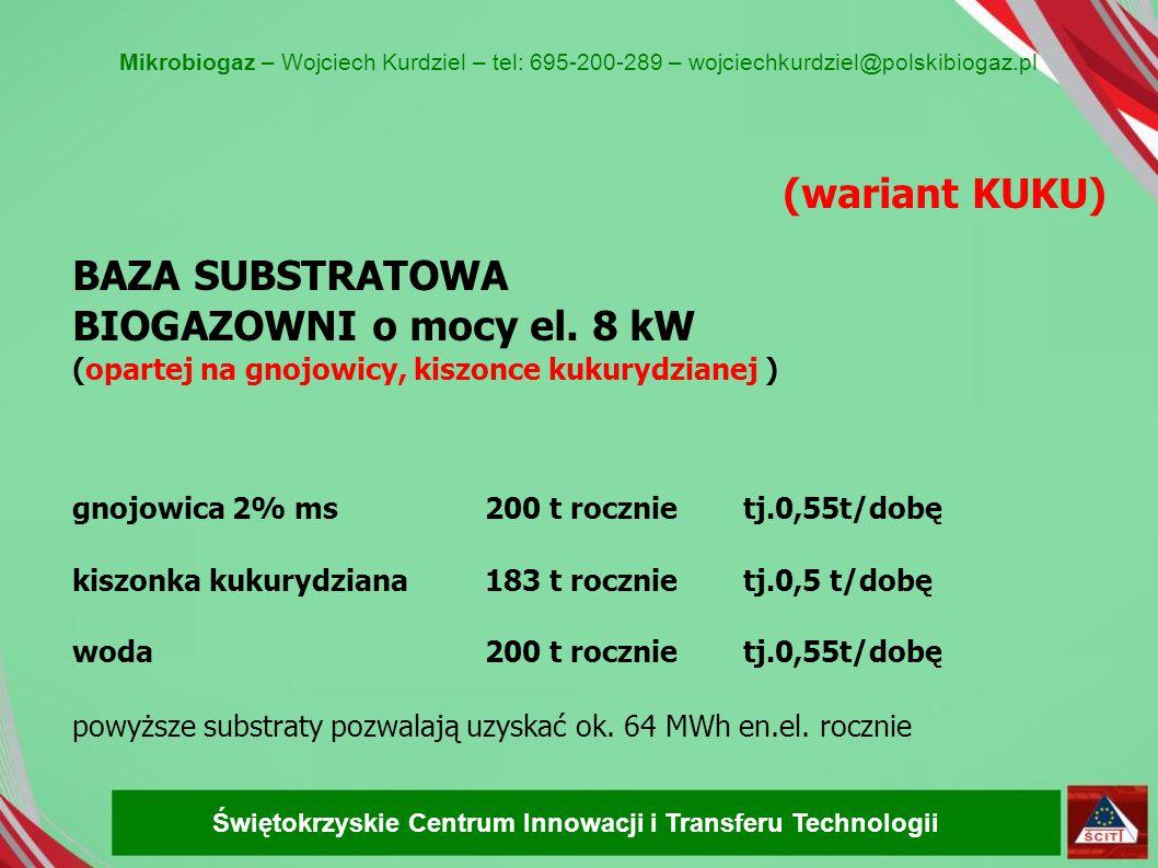 (wariant KUKU) BAZA SUBSTRATOWA BIOGAZOWNI o mocy el. 8 kW (opartej na gnojowicy, kiszonce kukurydzianej ) gnojowica 2% ms 200 t rocznie tj.0,55t/dobę