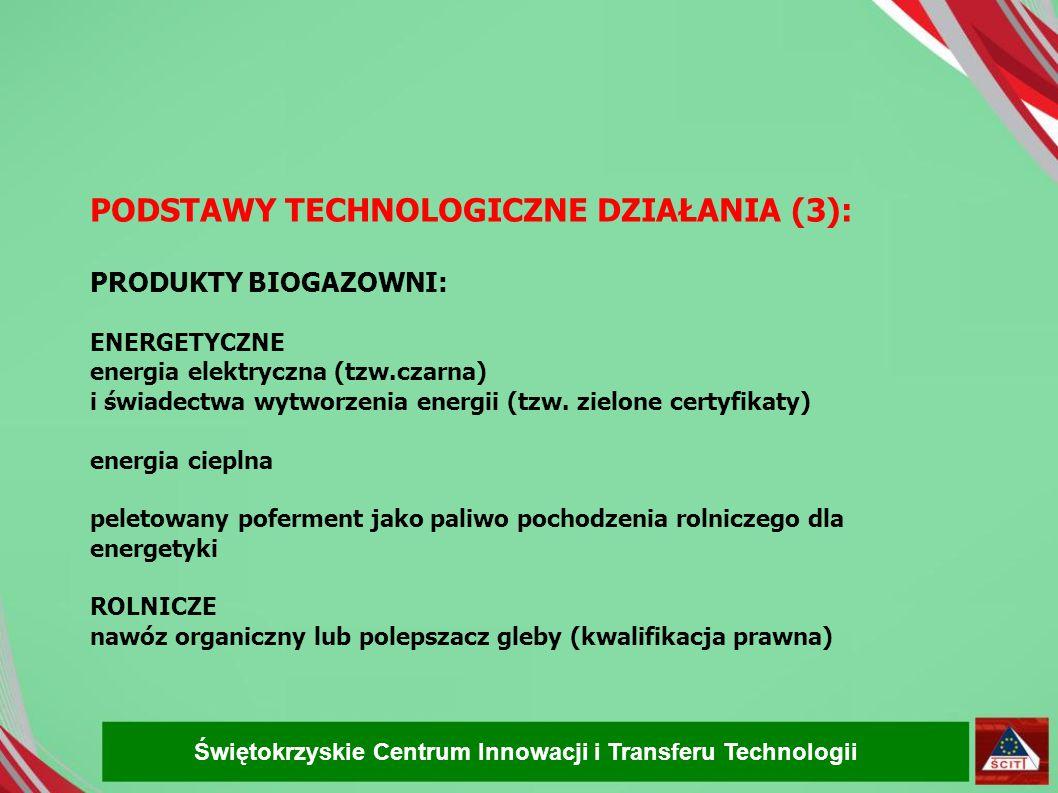 PODSTAWY TECHNOLOGICZNE DZIAŁANIA (3): PRODUKTY BIOGAZOWNI: ENERGETYCZNE energia elektryczna (tzw.czarna) i świadectwa wytworzenia energii (tzw. zielo