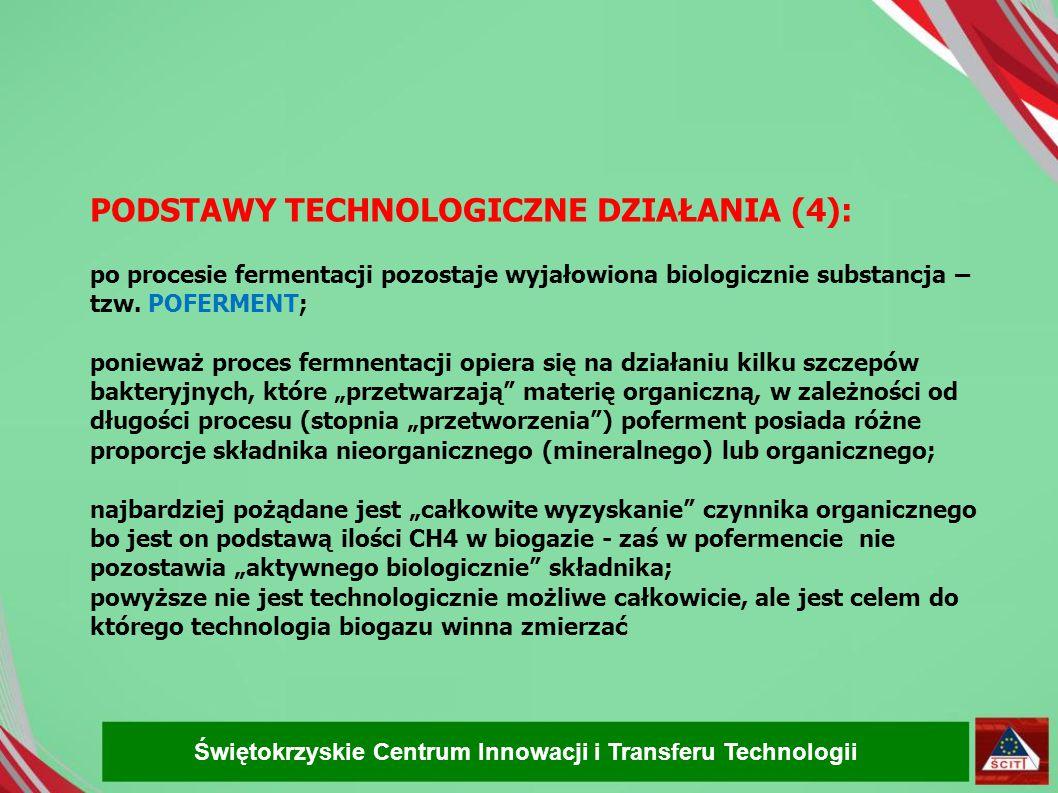 PODSTAWY TECHNOLOGICZNE DZIAŁANIA (4): po procesie fermentacji pozostaje wyjałowiona biologicznie substancja – tzw. POFERMENT; ponieważ proces fermnen