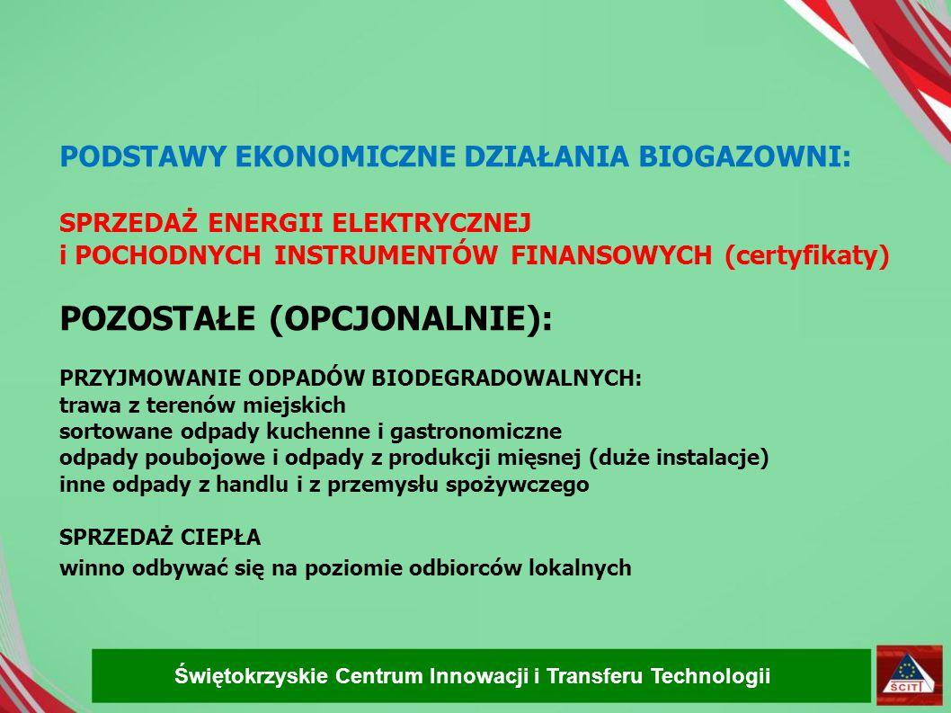 """. BIOGAZOWNIA – OBIEKT POŻYTECZNY jako odnawialne źródło energii działa w zamknietym cyklu biologiczno- środowiskowym co oznacza, że jest obiektem """"bezemisyjnym jako źródło energii elektrycznej stabilizuje lokalną sieć energetyczną (szczególnie pożądany w rejonach peryferyjnych) jako żródło ciepła może pełnić role bazy dla innych działań przemysłowo-przetwórczych jako odnawialne źródło energii ogranicza szkodliwą emisję produkując energię """"zamiast tradycyjnych jej źródeł jako podmiot kontraktujący płody rolne stabilizuje lokalny układ ekonomiczny jeśli przetwarza odpad z produkcji rolnej (gnojowica, wywary i odcieki spożywcze) higienizuje je i uzdatnia do ponownego użycia w rolnictwie - jako przetwórnia masy biologicznej jest wytwórcą pożądanego nawozu organiczno-mineralnego Świętokrzyskie Centrum Innowacji i Transferu Technologii"""