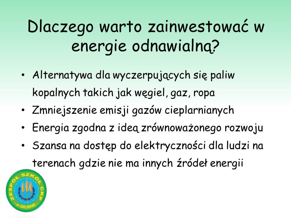 Dlaczego warto zainwestować w energie odnawialną? Alternatywa dla wyczerpujących się paliw kopalnych takich jak węgiel, gaz, ropa Zmniejszenie emisji