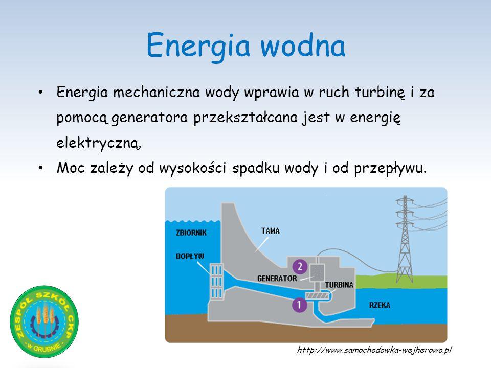 Energia wodna Energia mechaniczna wody wprawia w ruch turbinę i za pomocą generatora przekształcana jest w energię elektryczną. Moc zależy od wysokośc