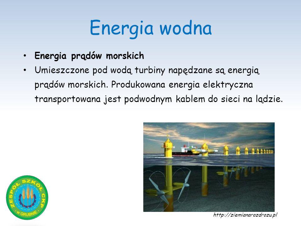 Energia wodna Energia prądów morskich Umieszczone pod wodą turbiny napędzane są energią prądów morskich. Produkowana energia elektryczna transportowan