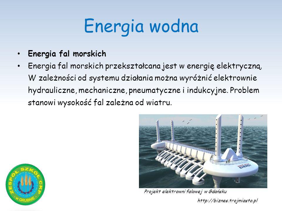 Energia wodna Energia fal morskich Energia fal morskich przekształcana jest w energię elektryczną. W zależności od systemu działania można wyróżnić el
