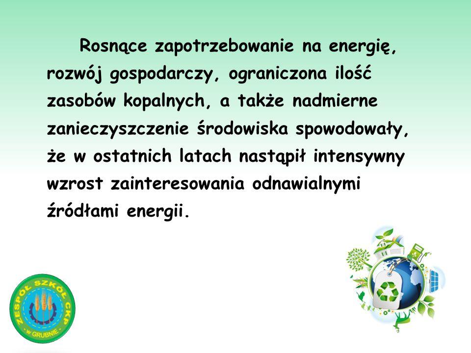 Rosnące zapotrzebowanie na energię, rozwój gospodarczy, ograniczona ilość zasobów kopalnych, a także nadmierne zanieczyszczenie środowiska spowodowały