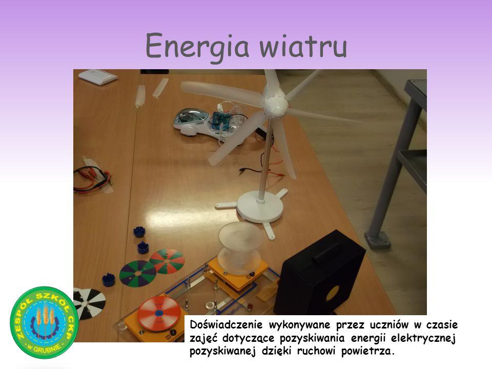 Energia wiatru Doświadczenie wykonywane przez uczniów w czasie zajęć dotyczące pozyskiwania energii elektrycznej pozyskiwanej dzięki ruchowi powietrza