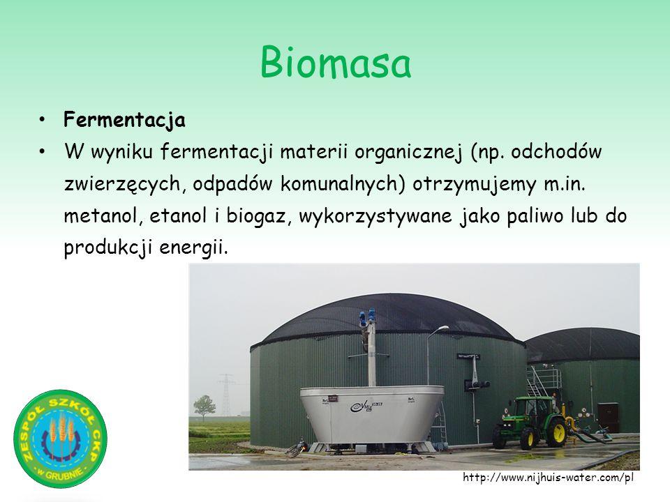 Biomasa http://www.nijhuis-water.com/pl Fermentacja W wyniku fermentacji materii organicznej (np. odchodów zwierzęcych, odpadów komunalnych) otrzymuje