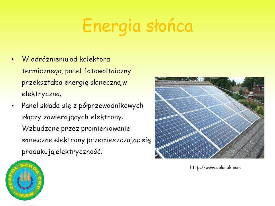 Energia słońca W odróżnieniu od kolektora termicznego, panel fotowoltaiczny przekształca energię słoneczną w elektryczną. Panel składa się z półprzewo