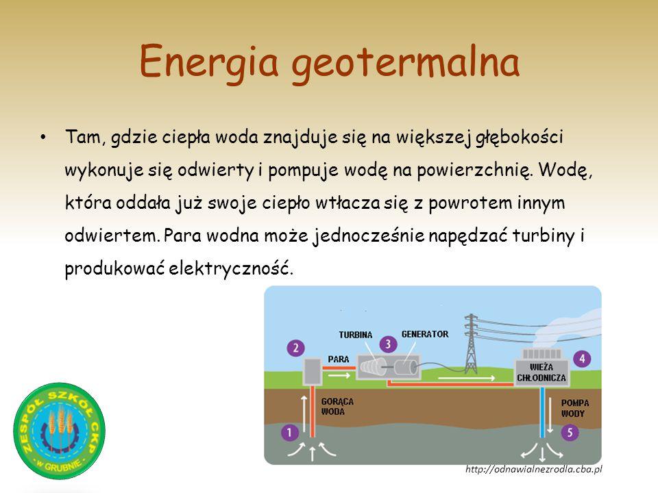 Energia geotermalna Tam, gdzie ciepła woda znajduje się na większej głębokości wykonuje się odwierty i pompuje wodę na powierzchnię. Wodę, która oddał