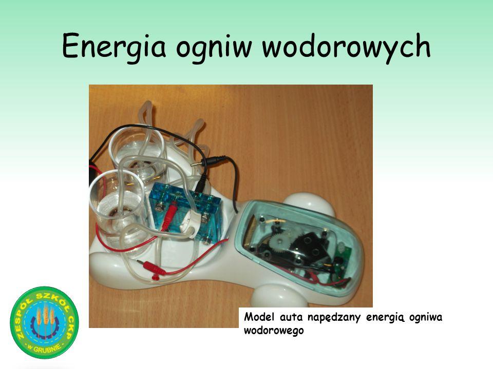 Energia ogniw wodorowych Model auta napędzany energią ogniwa wodorowego