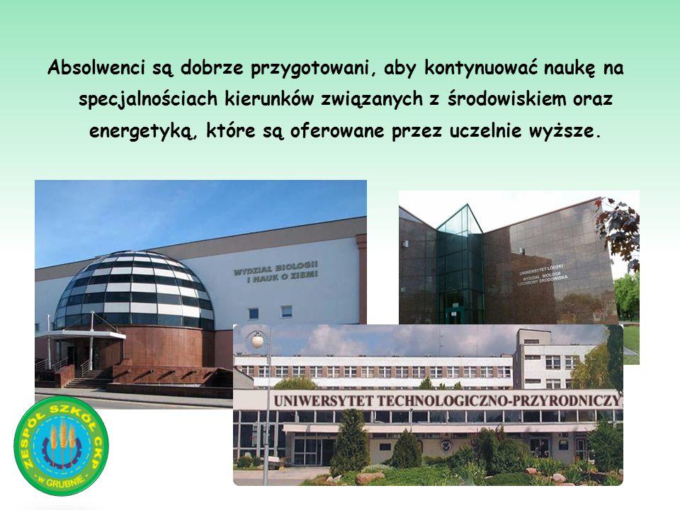 Absolwenci są dobrze przygotowani, aby kontynuować naukę na specjalnościach kierunków związanych z środowiskiem oraz energetyką, które są oferowane pr