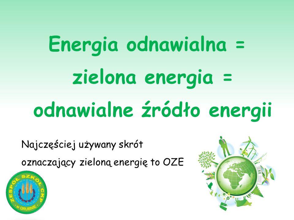 Energia odnawialna = zielona energia = odnawialne źródło energii Najczęściej używany skrót oznaczający zieloną energię to OZE