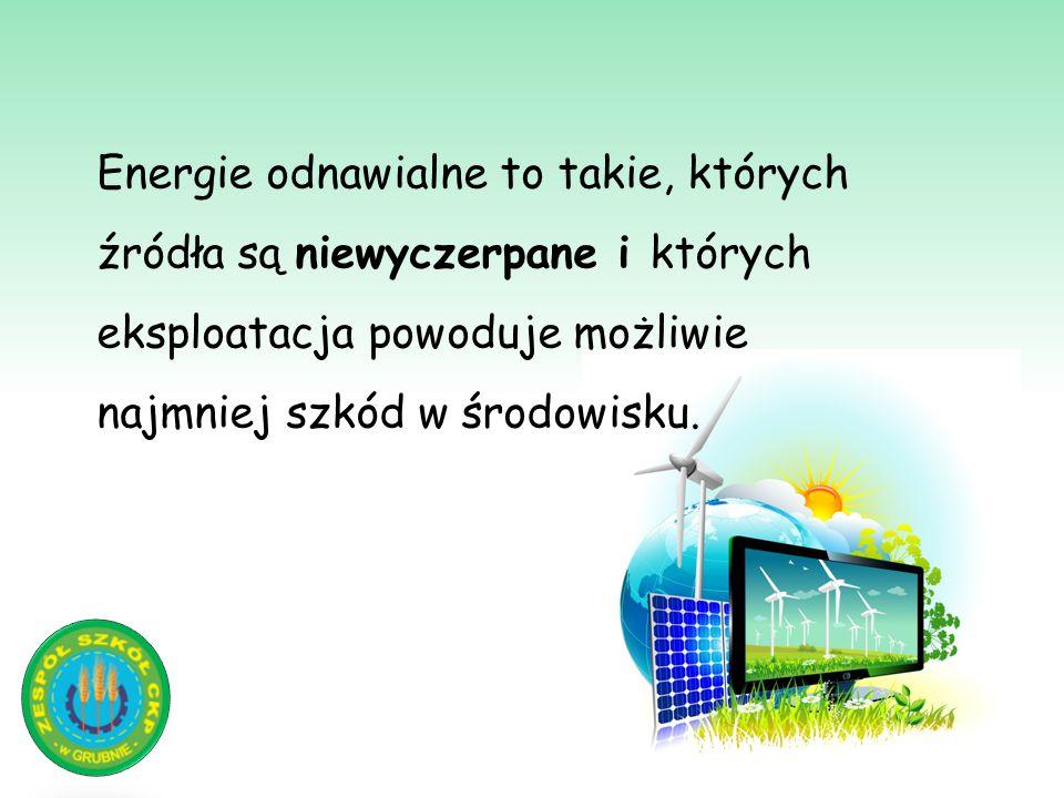 Energia wiatru Energia kinetyczna wiatru powoduje ruch obrotowy turbiny i produkcję elektryczności.