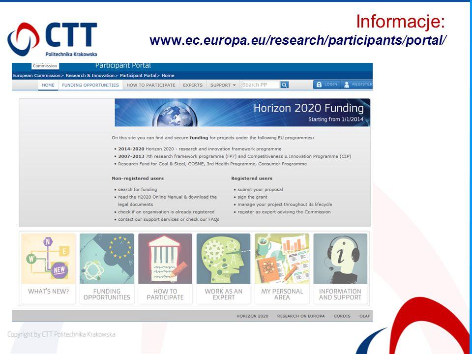 Informacje: www.ec.europa.eu/research/participants/portal/